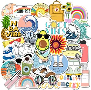 Cute Positive Stickers for Hydro Flask [Big-35pcs] Vsco Sticker for Laptop Cups Phone Case Computer PC Water Bottle Bike Folder Car Motorcycle Tumbler Luggage Helmet Skateboard Snowboard Gift for kids