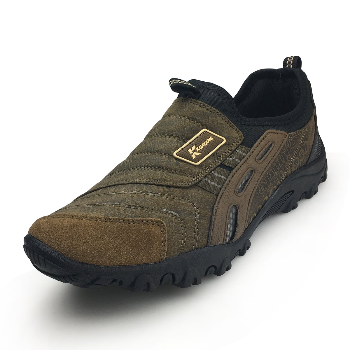 XiaoYouYu Men Slip On Sneaker - Outdoor Hiking Shoe Sport Trail Running Shoes Casual Trekking Shoes AAX004 Brown, 9 D(M) US