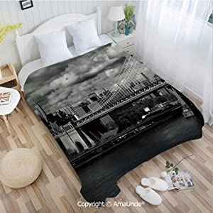 AlinaMa Custom Flannel Blanket W39.37 xL59.06 Bathroom Decor,Black and White Panorama of New York City Skyline with Focus on Manhattan Bridge Photo Super Soft Lightweight Breathable Sleeping Blanke