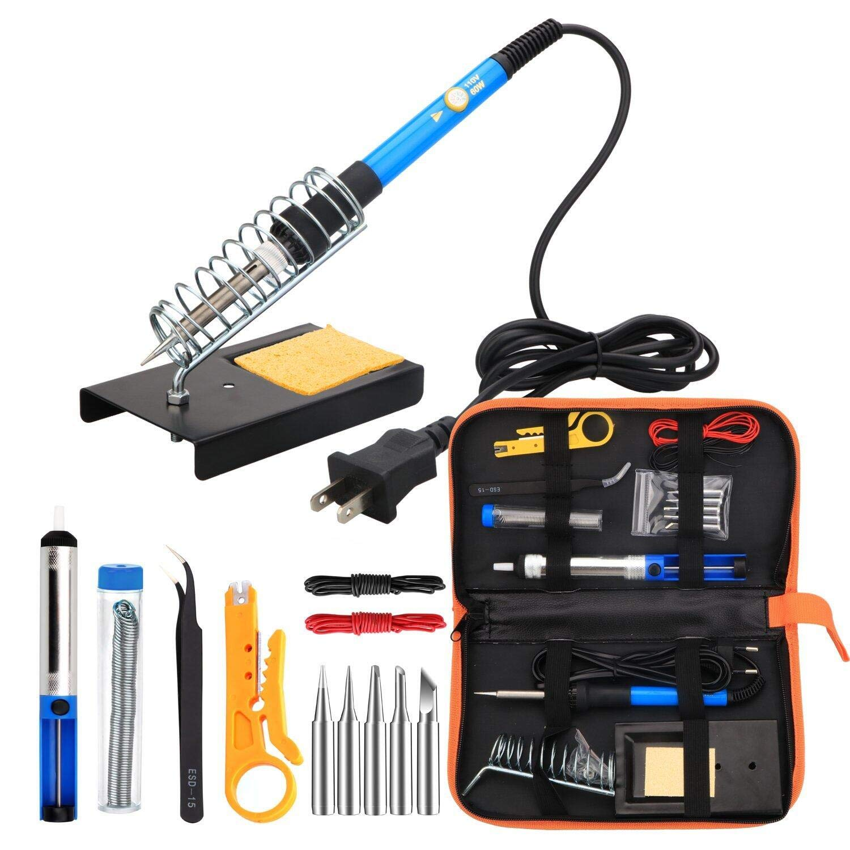 hothuimin Soldering Iron Kit Electronics, 60W 110V Adjustable Temperature Welding Tool, 5pcs Soldering Tips, Desoldering Pump, Soldering Iron Stand with Carrying Case