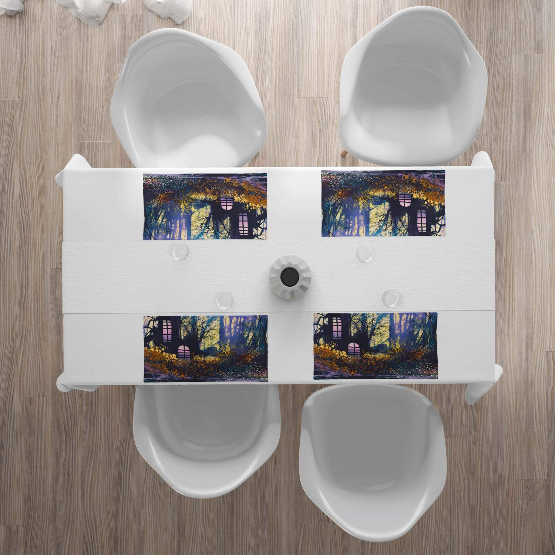 Tiscjdeco aus Farbfesten Stoff für das Esszimmer und Küch Mehrfarbig Mystisches Haus im Baum-Stamm mit Windows-altem verlorenem Stadt-Animations-Natur-Druck ABAKUHAUS Fantasie Platzmatten