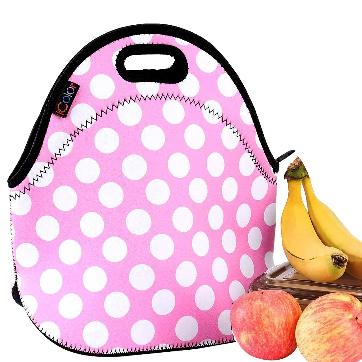 iColor Pink Polka Dots Insulated Lunch Tote Bag Cooler Box Neoprene lunchbox baby bag Handbag Case YLB-001