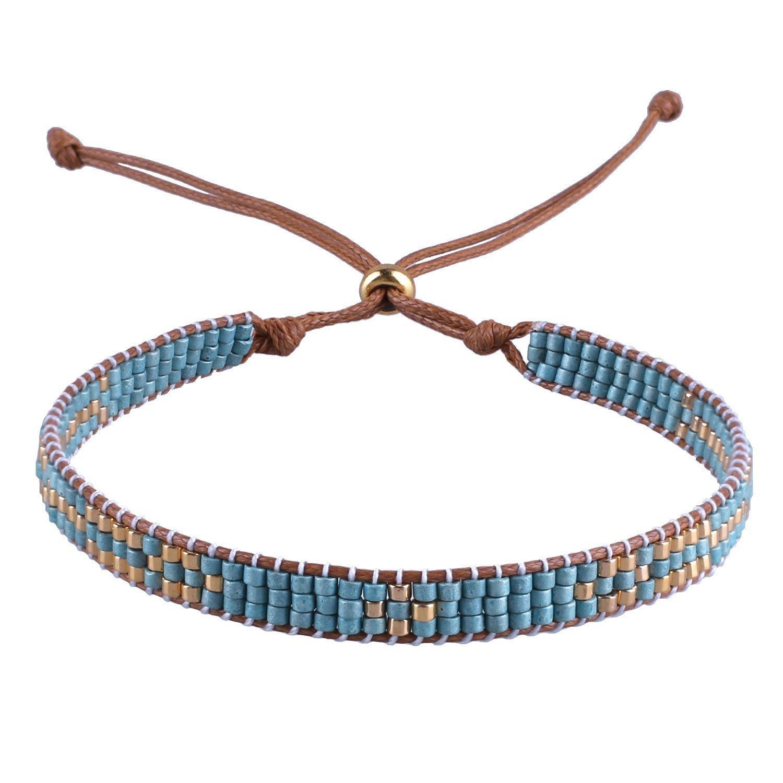 C·QUAN CHI String Bracelet Woven Bracelets Women Wrist Beach Bracelet Bohemian Jewelry Fashion Handmade Braided Friendship Bracelet Cool Birthday Gifts Graduation Gifts Her