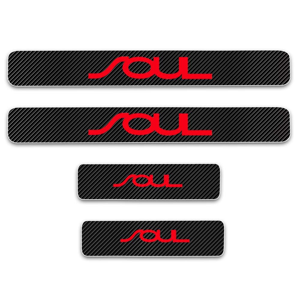 for Kia Soul Door Sill Protector Reflective 4D Carbon Fiber Sticker Door Entry Guard Door Sill Scuff Plate Stickers Auto Accessories 4Pcs Red SLONG