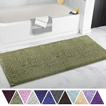 Sage Green Bathroom Rugs.Itsoft Non Slip Shaggy Chenille Soft Microfibers Runner Large Bath Mat For Bathroom Rug Water Absorbent Carpet Machine Washable 21 X 47 Inches Sage