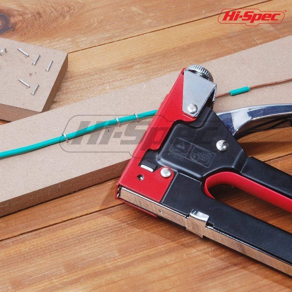 Fixation de Tissu aux Murs Contre-plaqu/é avec R/églage de Pression R/églable pour Hobby Projets Hi-Spec 2-en-1 Agrafeuse en acier Set de Maison Bricolage pour Mobilier