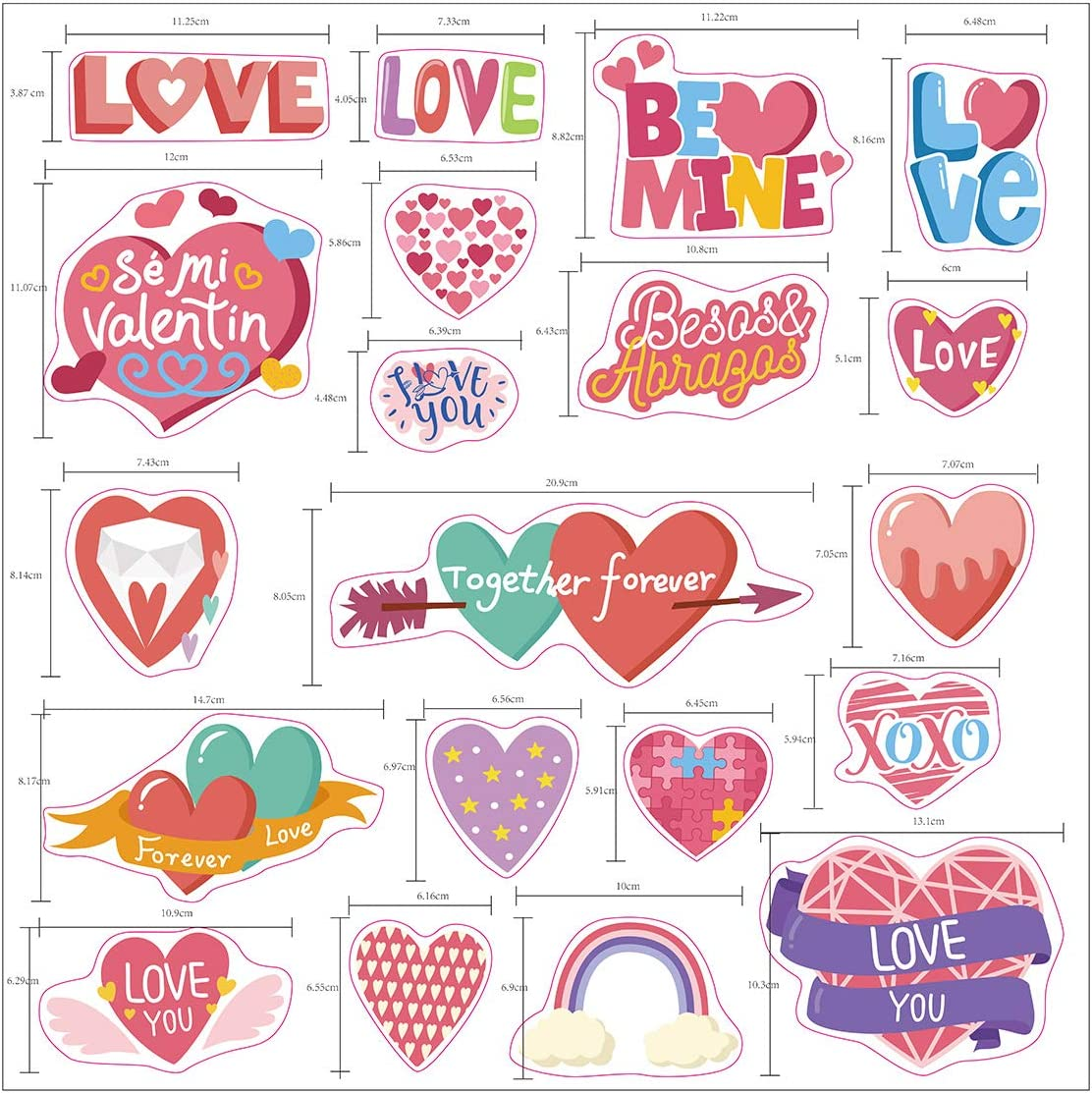 WIDEBULE Valentine Windows Clinging to Decorative Red and Pink Hearts Stickers 6