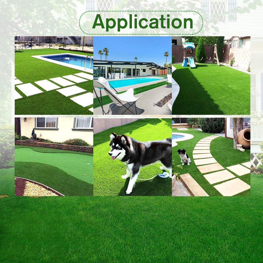 24 Square FT Indoor Outdoor Garden Lawn Landscape Synthetic Grass Mat 2FTX12FT Artificial Grass Turf Lawn