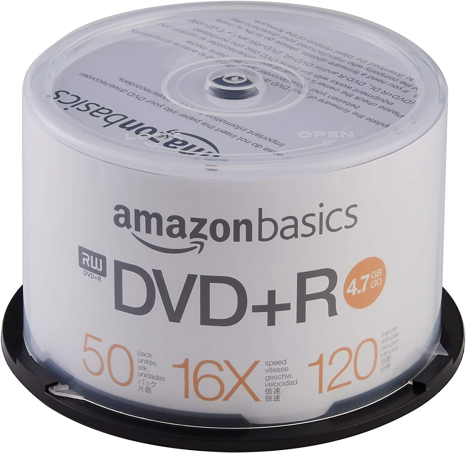 AmazonBasics 4.7 GB blank 16x DVD+R - 50 Pack Spindle