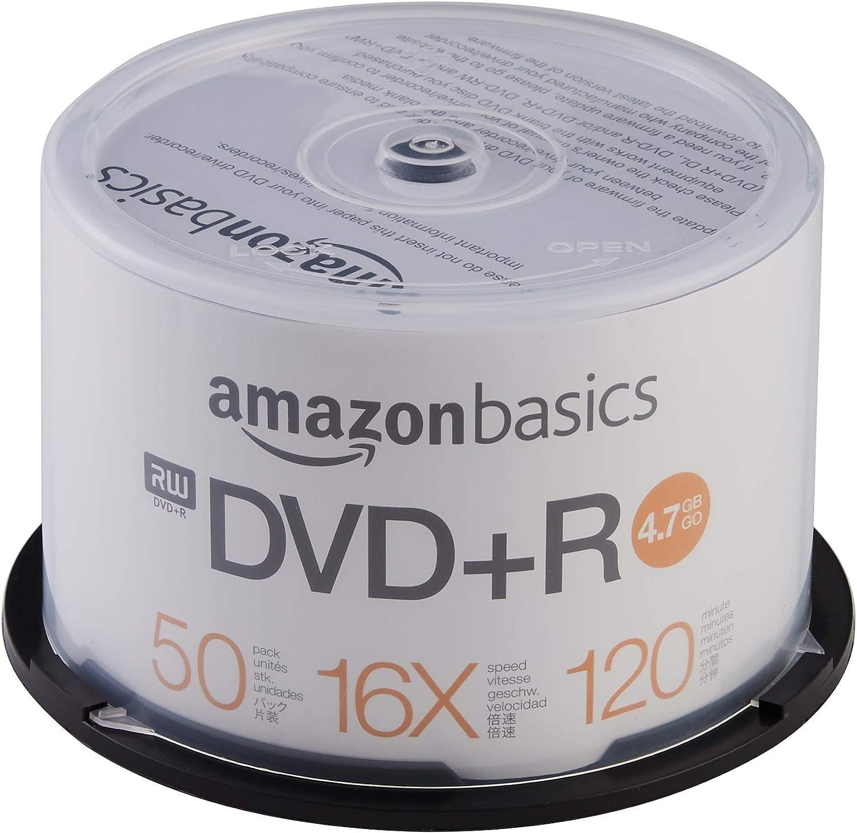 AmazonBasics - Torre de DVD+R de 4,7 GB (16x, 50 unidades): Amazon.es: Informática