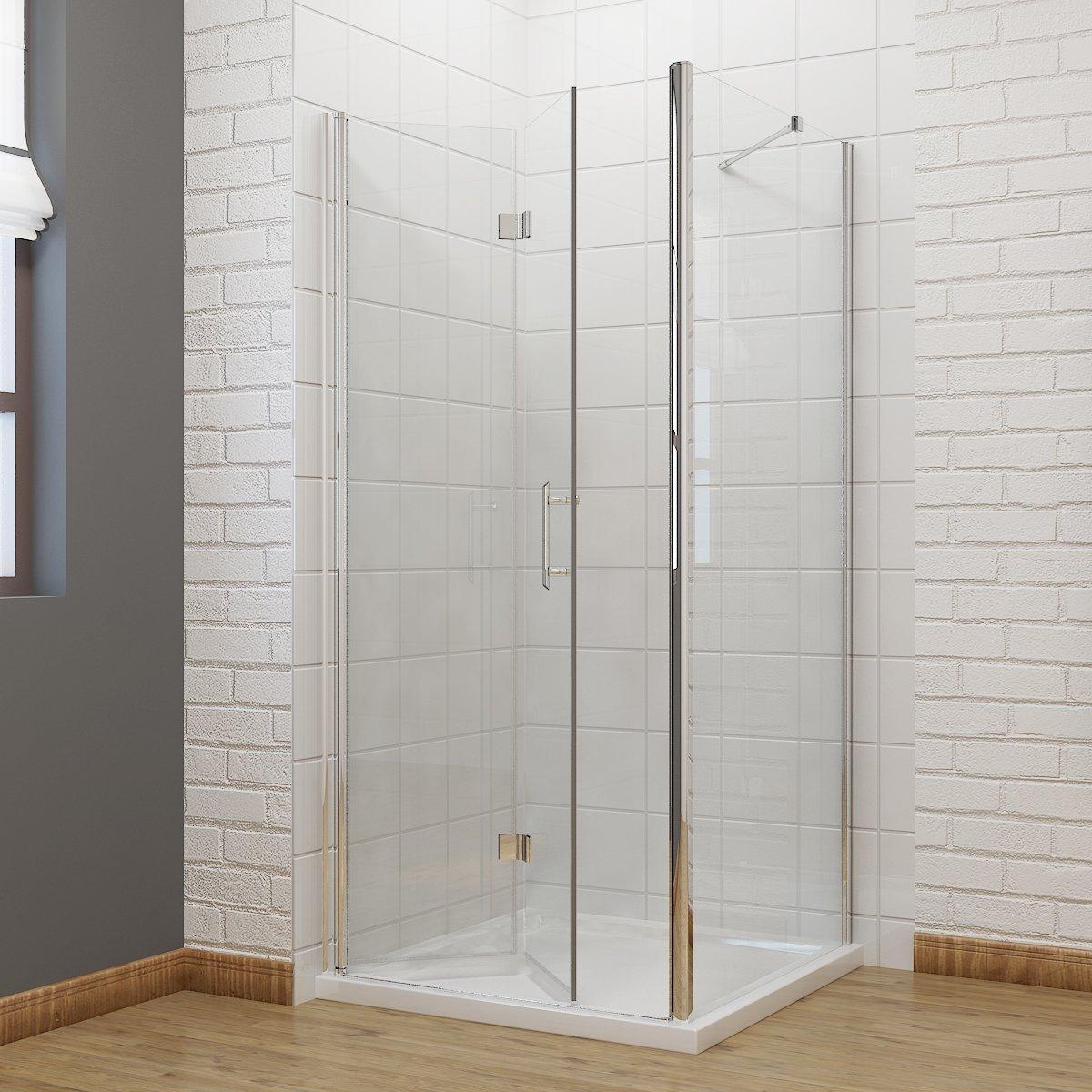 900 x 700 mm Bifold Shower Enclosure Glass Shower Door Reversible ...