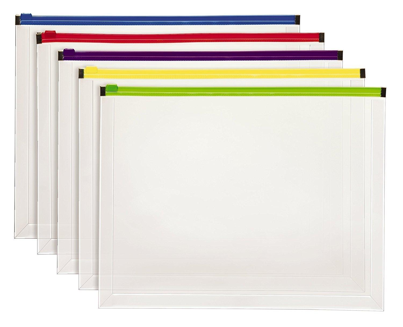 Pendaflex Poly Zip Envelope, Letter Size, Assorted Color Zippers, 5