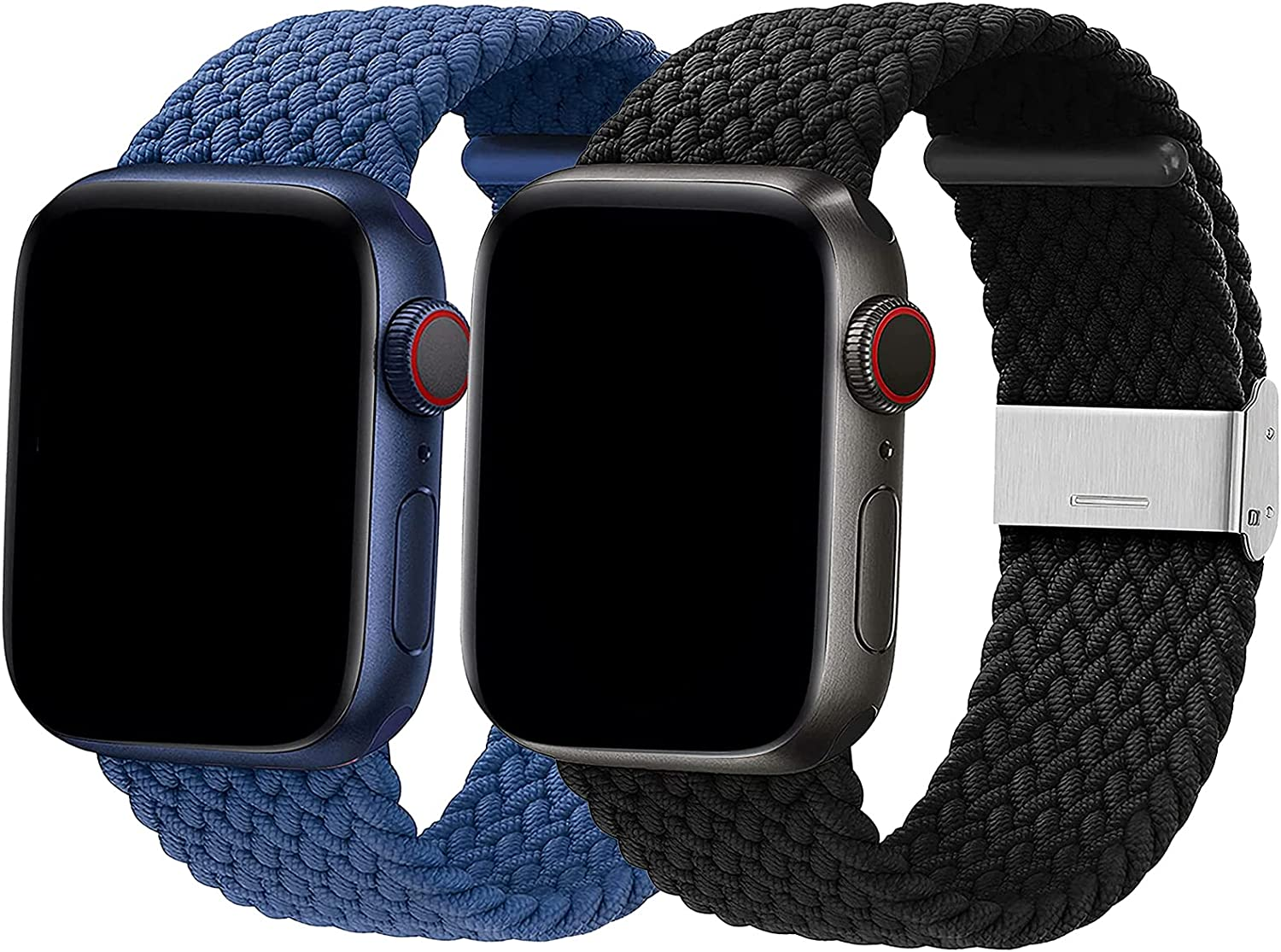 Braided Solo Loop Bands Compatible with Apple Watch 38mm 40mm 42mm 44mm Women Men, [2 Pack]-Adjustable Braided Solo Loop Stretchable Elastics Sport Wristband for iWatch Series 6/SE/5/4/3/2/1