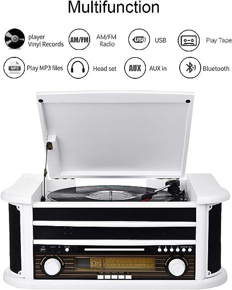 MUSITREND Tocadiscos (33 / 45 / 78 RPM) estéreo de 3 velocidades ...