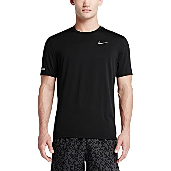 Nike Dry Contour Men's Short Sleeve Running Top Shirt Black 849948 010 ...