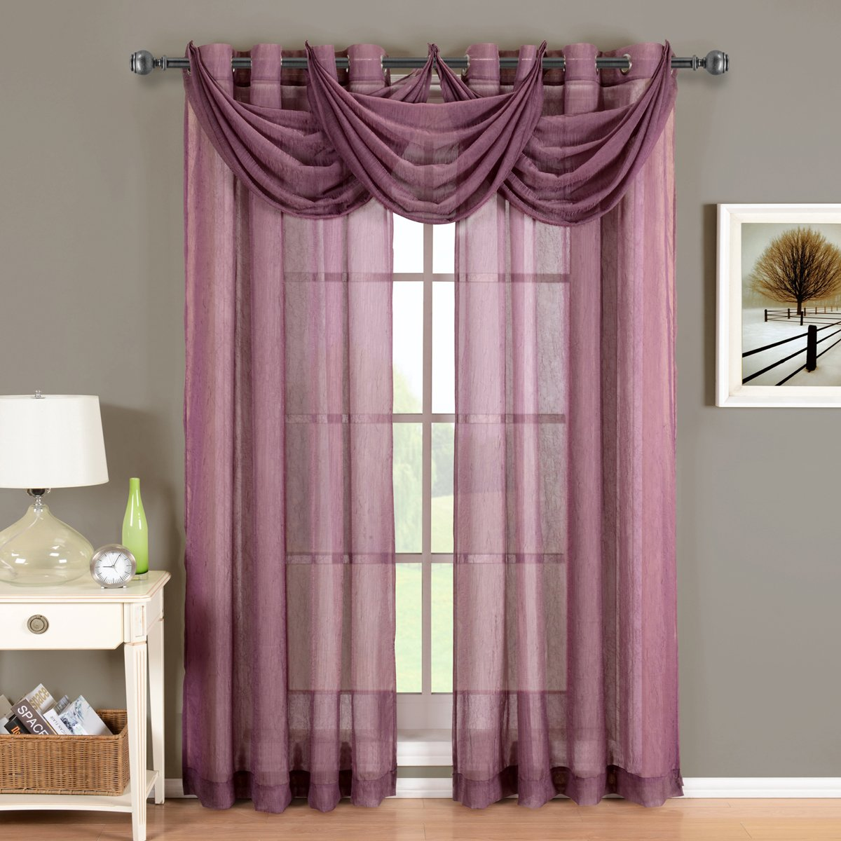 Luxury Abri Eggplant Grommet Crushed Sheer Curtain, , by Royal Hotel