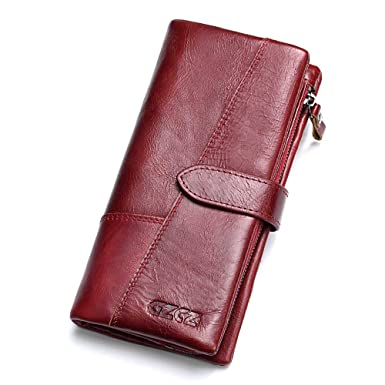 6fe9352571ea8 GZCZ Genuine Leather Women s Wallet Lady Card Holder Organizer Card Case  Purse -Red
