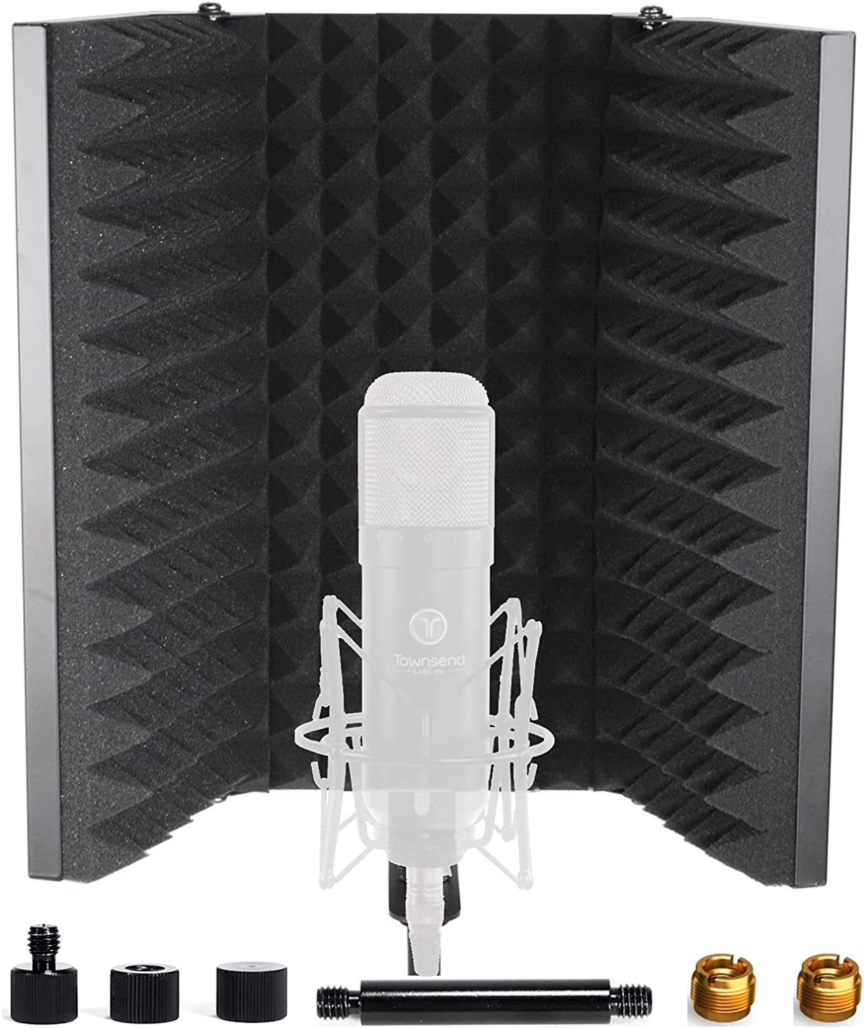 Studio Microphone Isolation Shield, Pop Filter, Metal Sound Proof Panels, High Density Absorbing Foam, Acoustic Treatment for Blue Yeti Condenser Mic Music Recording Vocal Booth Podcast Equipment