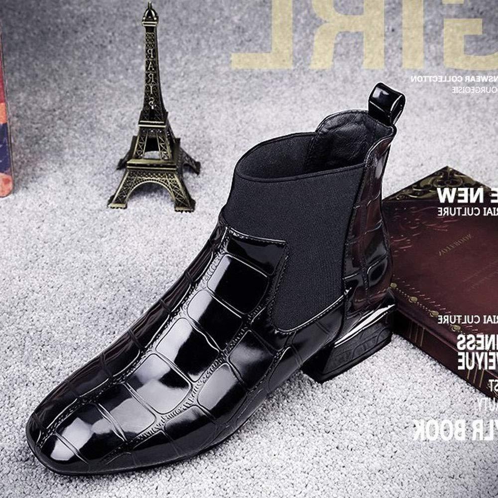 OHQ Botines Martin Mujer Cabeza Cuadrada De Grosor con Patas Charol Invierno Botas Cortas BritáNicas De Viento Punta TacóN Casual Negras Zapatos De