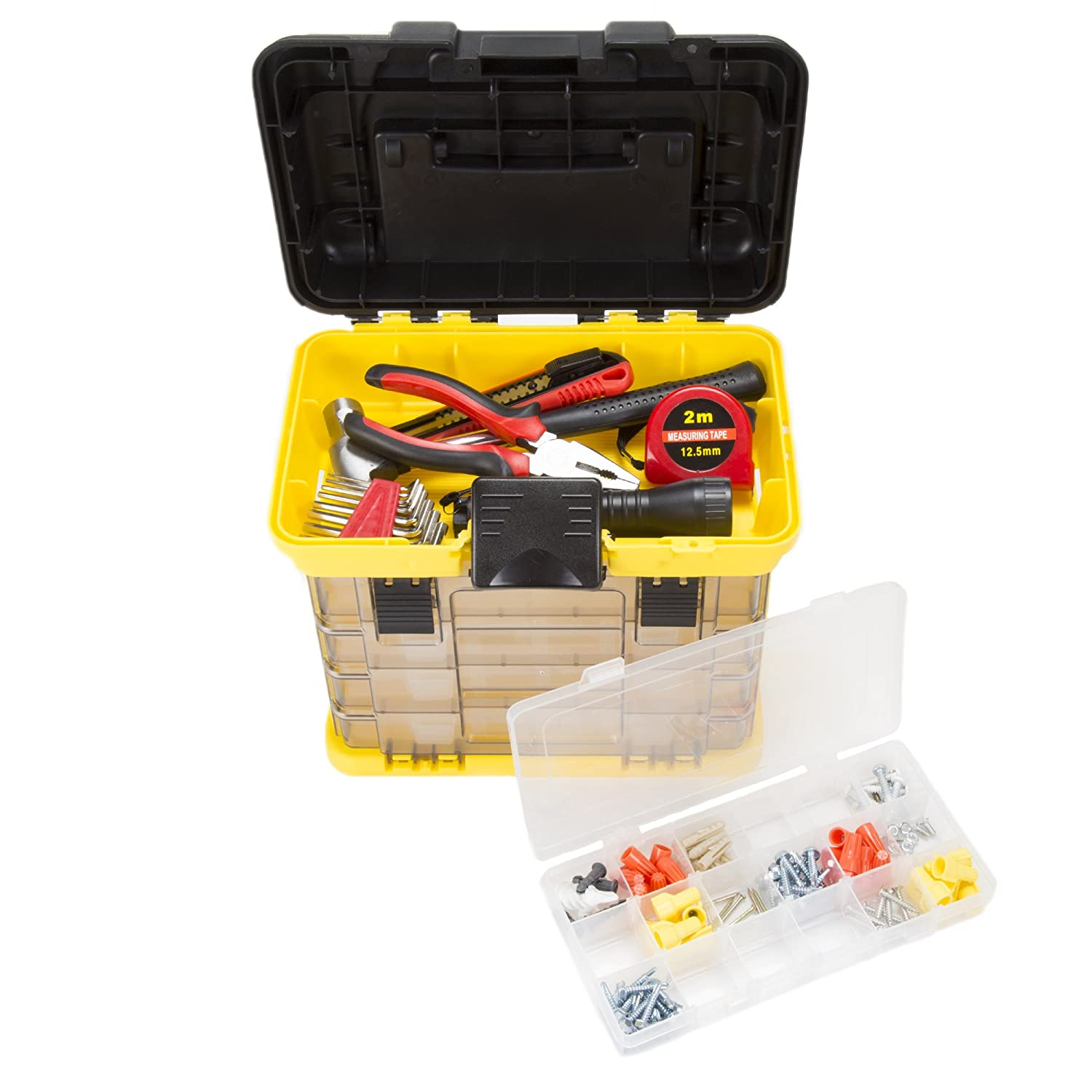 Stalwart 75-STO3182 Parts /& Crafts Rack Style Tool Box with 4 Organizers Yellow