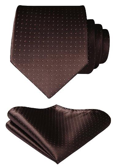 997ac80d5f65a BIYINI Men's Polka Dot Tie Handkerchief Jacquard Woven Classic Men's Necktie  & Pocket Square Set Brown
