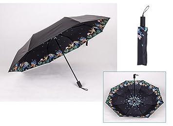 LGZOOT Mujeres Paraguas De Sol Vinilo Paraguas UV Lluvia O Sol Dual Paraguas Plegable Paraguas De