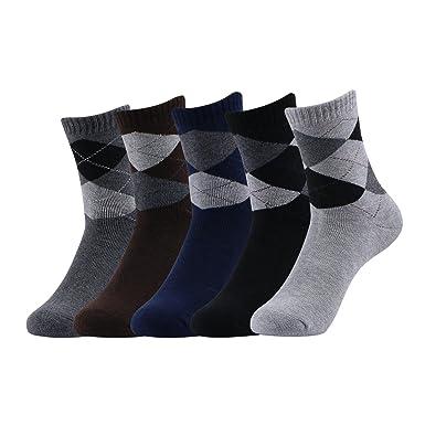 Caudblor 5 Pares Calcetines de vestir con diseño de argyle con estampado informal, algodón,. Pasa ...