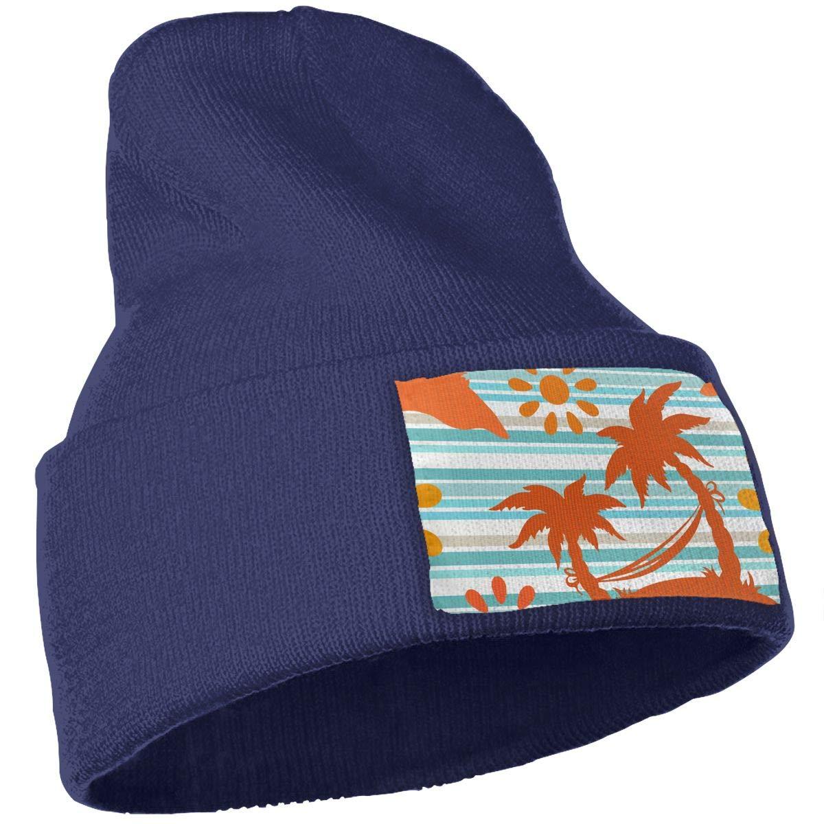 Palm Trees Hammock Men /& Women Skull Caps Winter Warm Stretchy Knitting Beanie Hats Sun