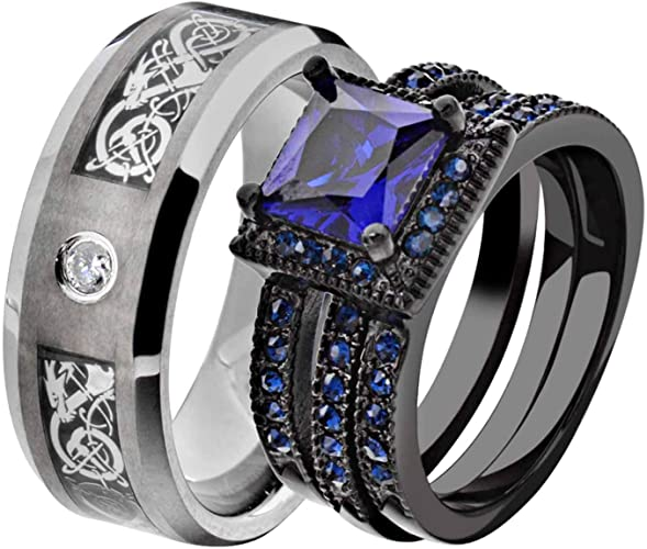Amazon Com His And Hers Wedding Ring Sets Couple Ring Bridal Sets
