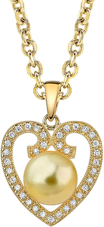 Con forma de corazón Golden South Sea perla cultivada y diamante Colgante en 18K oro