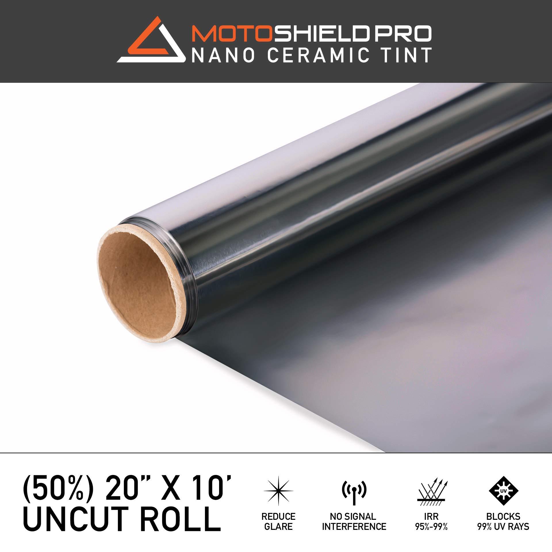 MotoShield Pro Ceramic Tint Film [Blocks Up to 99% of UV/IRR Rays] 20'' x 10' Window Tint Film ROLL (50%)