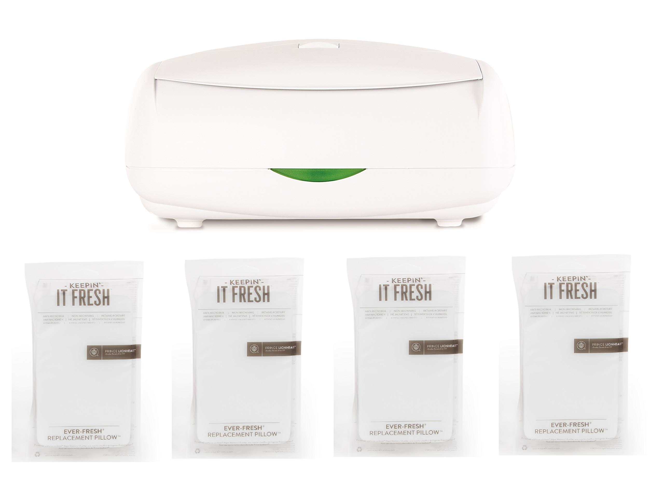 Prince Lionheart The Ultimate Wipes Warmer with an Integrated Nightlight. It Comes with 4 Replacement everFRESH Pillow System That Prevent Dry Out by Prince Lionheart