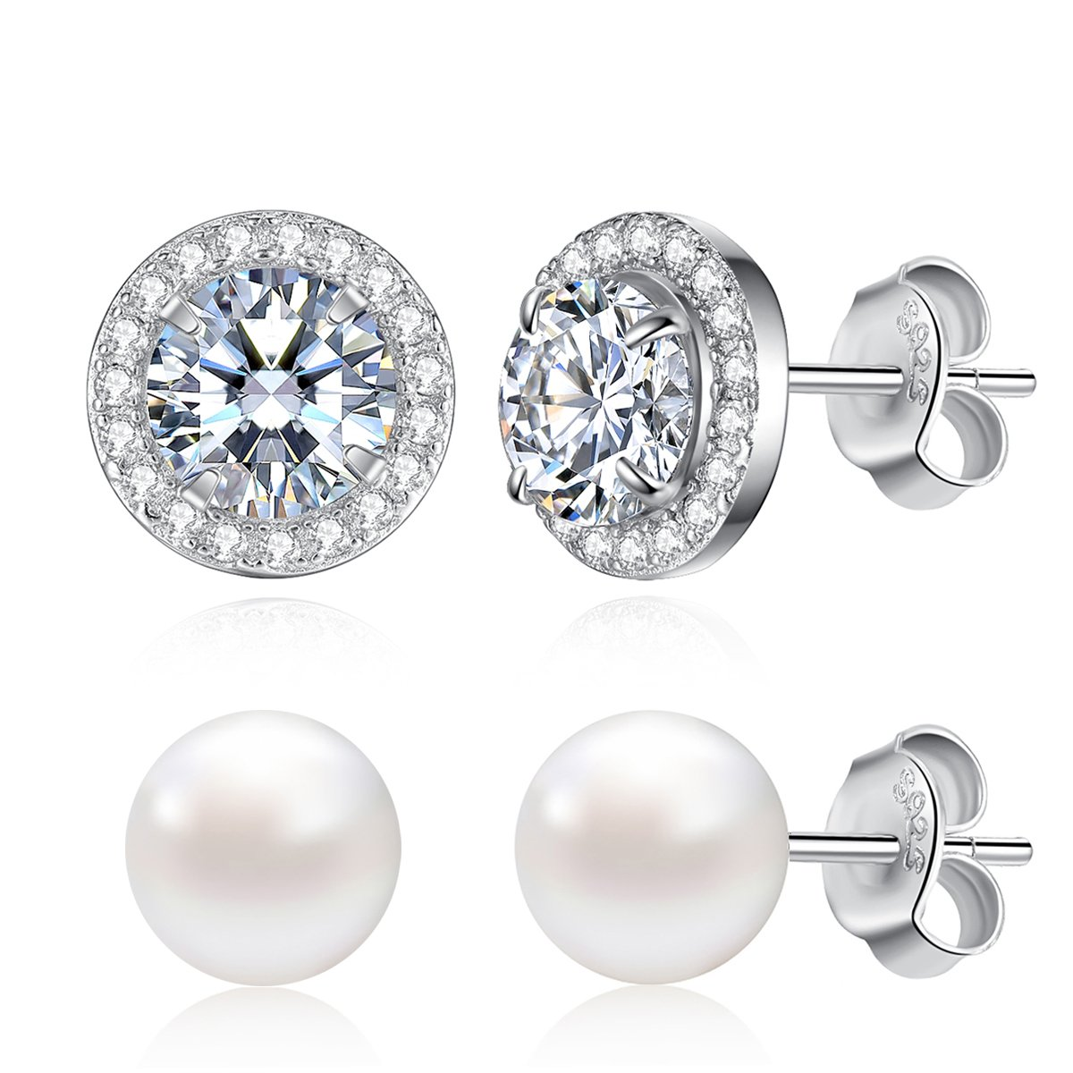 Stud Earrings Set Sterling Silver Cubic Zirconia Halo Studs and Freshwater Cultured Pearl Earrings for Women Girls, 2 Pairs