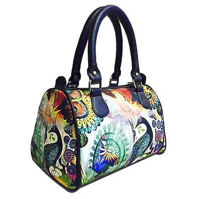 9219445bcfe4 Bangprice Canvas digital printed multipurpose Speedy Peacock stylish duffle  tote and handbag for Girls Women  Amazon.in  Shoes   Handbags
