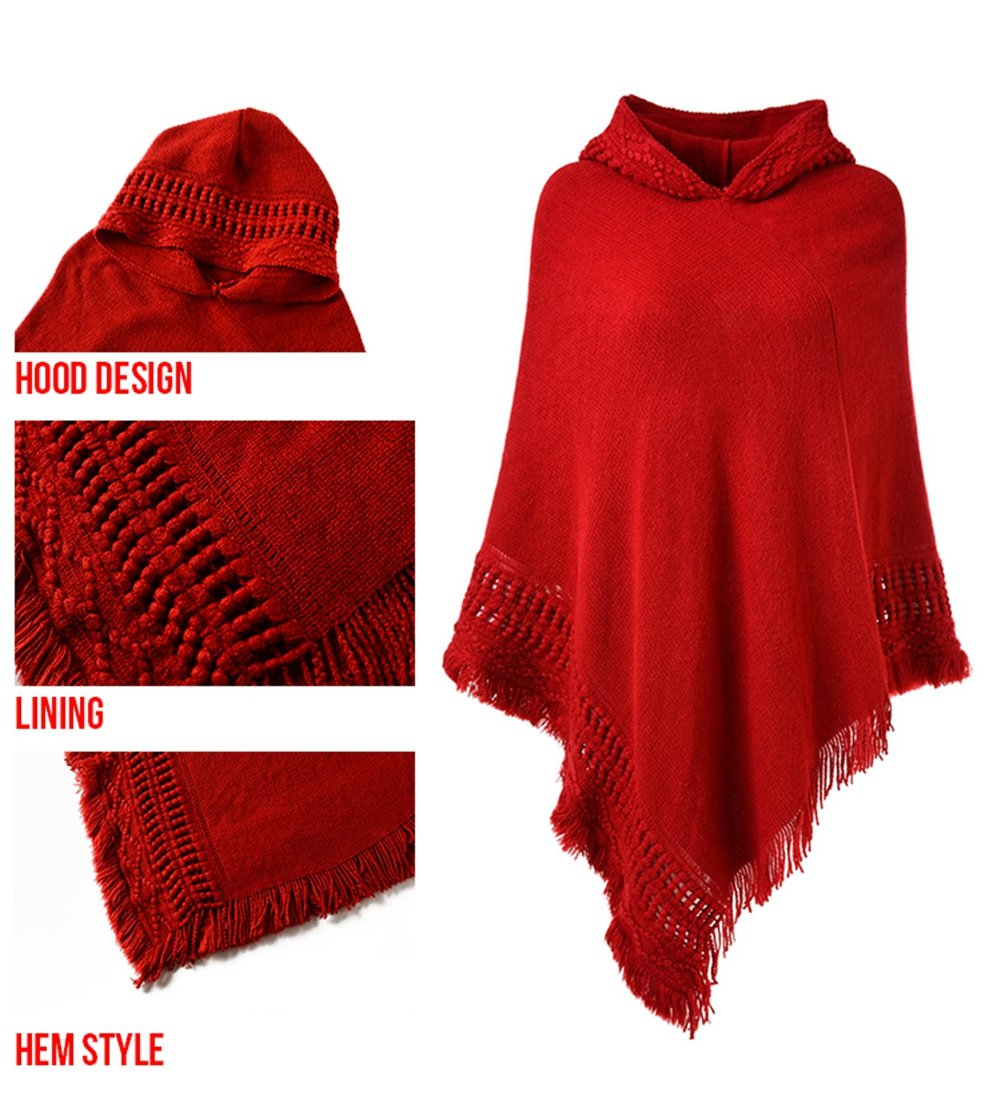 Ferand Ladies' Hooded Cape with Fringed Hem, Crochet Poncho Knitting Patterns for Women, Red by Ferand (Image #4)