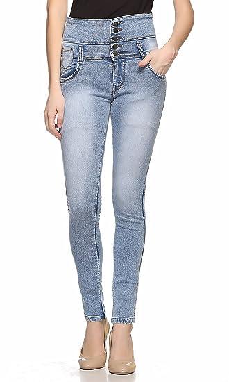 e12ac32ae95 Fasnoya Women s High Waist 5 Buttons Skinny Fit Denim Jeans (Light Blue