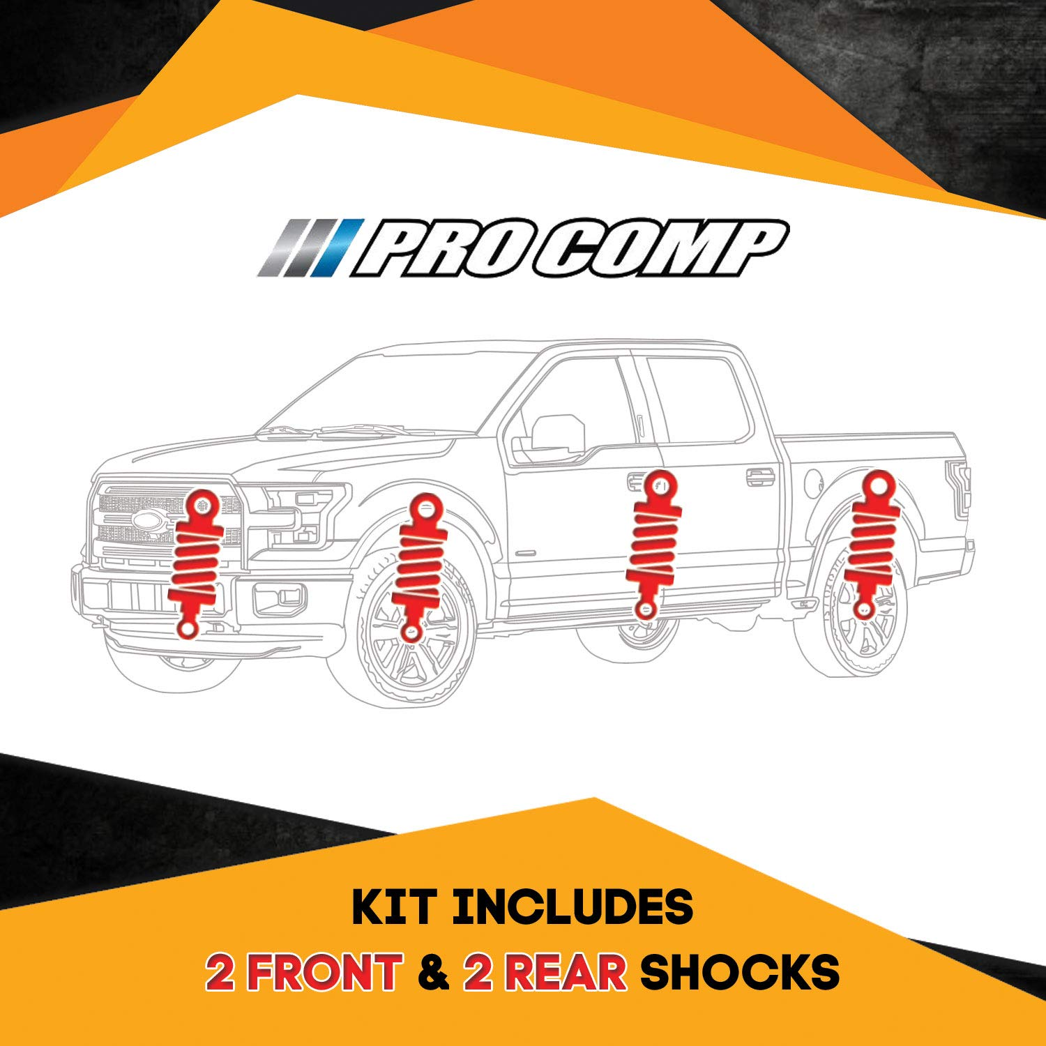 Pro Comp ES9000 Kit 4 Shocks for GMC Yukon K1500 92-99 4WD 6 inch Lift Ride Series Replacement Shock Absorbers
