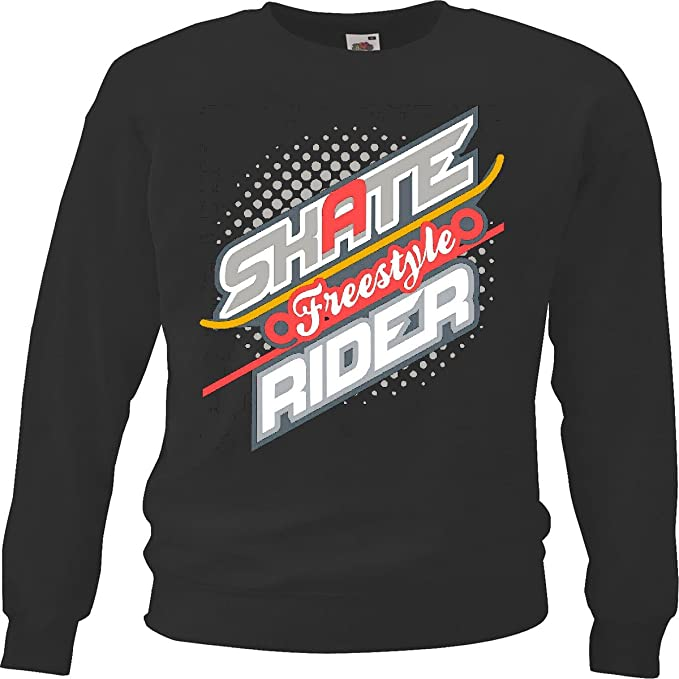 Sudaderas Suéter Skater Freestyle Skate Rider Skateboarder Longboard Freestyle in Negro: Amazon.es: Ropa y accesorios