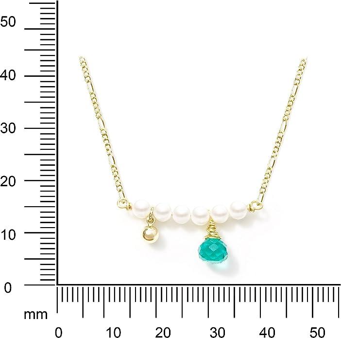 Toi/&Moi Original Design Handmade Gold-Plated Horizontal Pearl Teal Quartz Necklace for Her