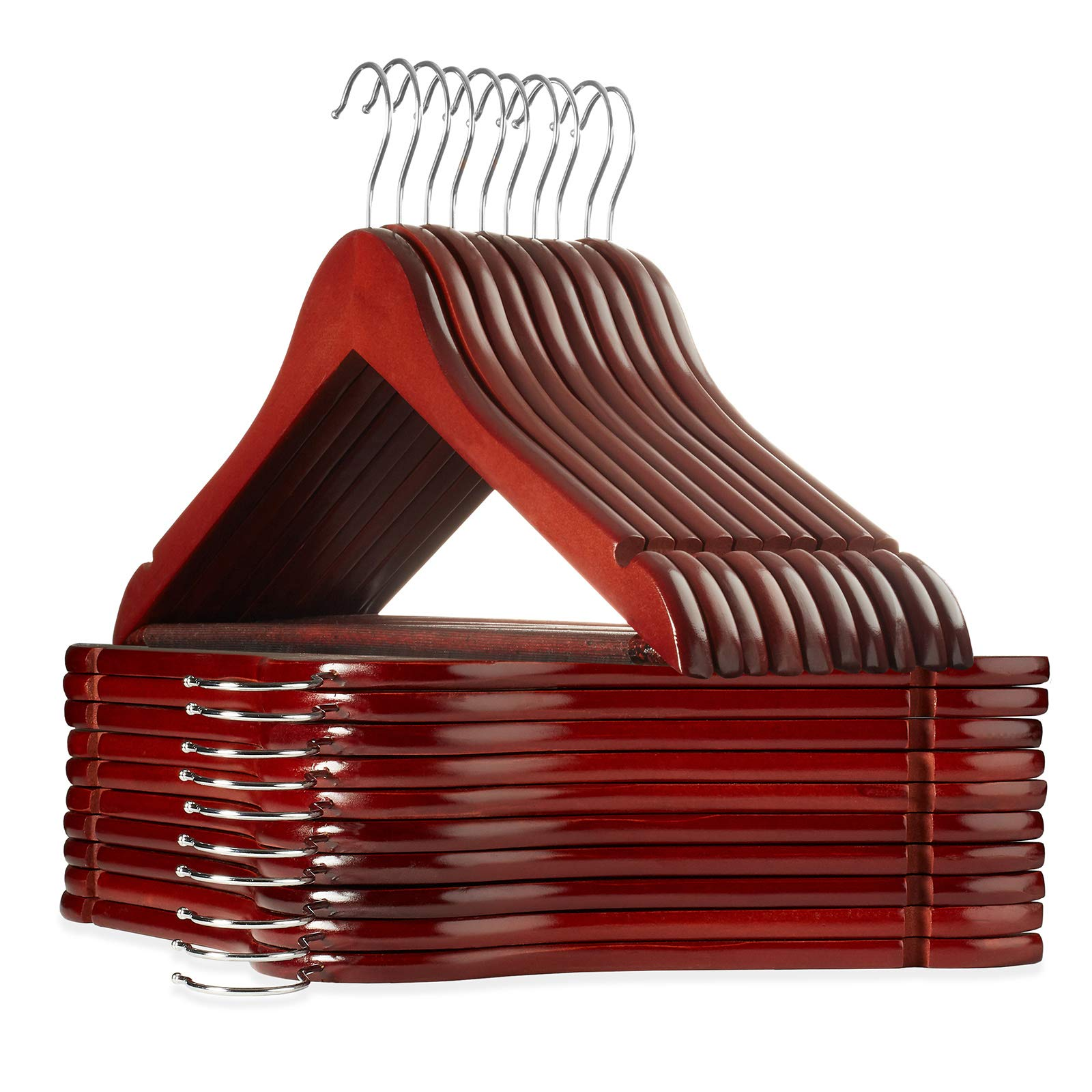 Casafield - 20 Cherry Wooden Suit Hangers - Premium Lotus Wood with Notches & Chrome Swivel Hook for Dress Clothes, Coats, Jackets, Pants, Shirts, Skirts