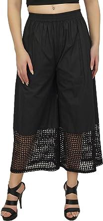 Bimba de Mujeres Falda pantalón de algodón de diseño Negro Palazzo ...