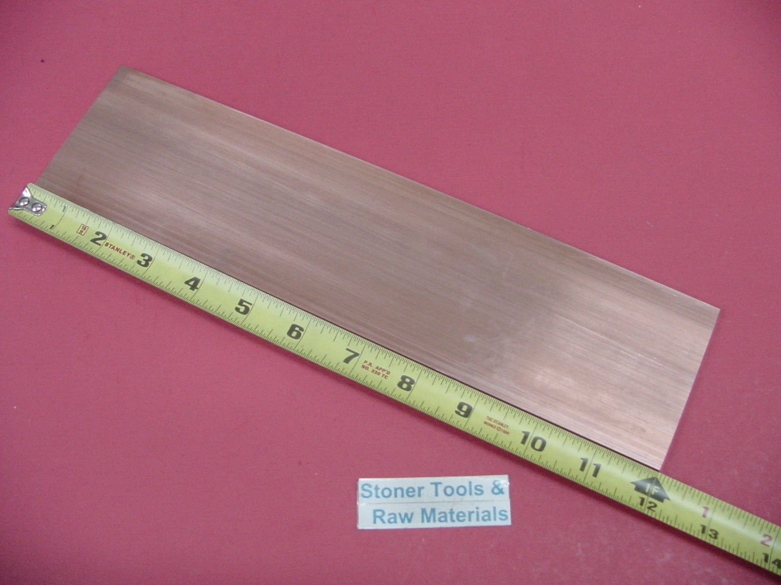 1/4''x 3'' C110 COPPER BAR 12'' long Solid Flat Bar Extruded Mill Bar Stock H04 by Stoner Metals