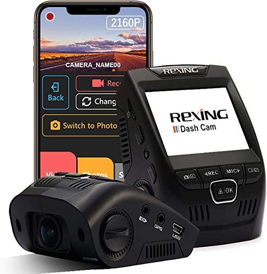 """Amazon.com: Rexing V1-4K Ultra HD Car Dash Cam 2.4"""" LCD Screen, Wi-Fi, 170° Wide Angle Dashboard Camera Recorder with G-Sensor, WDR, Loop Recording, Supercapacitor, Mobile App, 256GB Supported: Car Electronics"""