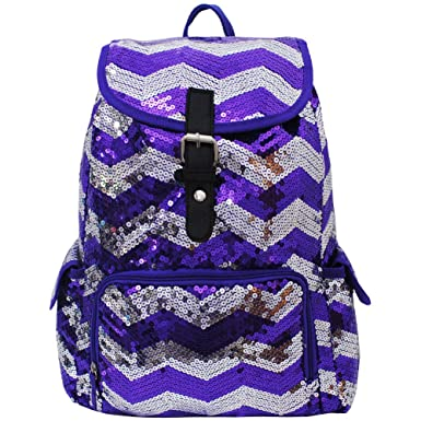 251f769f93 Image Unavailable. Image not available for. Color  2 Tone Sequin Drawstring  Cheer Yoga Dance Girly School Backpack Bookbag (Purple)
