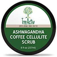 TreeActiv Ashwagandha Coffee Cellulite Scrub Anti Cellulite Treatment Natural Cellulite Remover from Legs and Body Caffeine, Juniper Berry and Pink Grapefruit Essential Oil, Cocoa Bioferment 8oz