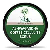 TreeActiv Ashwagandha Coffee Cellulite Scrub, Anti Cellulite Treatment, Natural Cellulite Remover from Legs and Body, Caffeine, Juniper Berry and Pink Grapefruit Essential Oil, Cocoa Bioferment 8oz