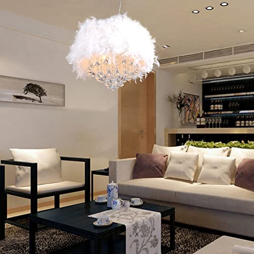 LightInTheBox Contemporary Luxuriant White Feather Chandelier with 3 Lights Crystal Drop Featured Pendant Light for The Living Room Dining Room Bedroom