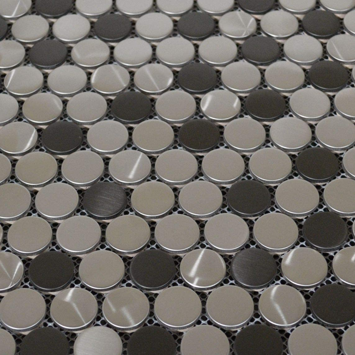 10 Sheets Penny Round Black Silver Stainless Steel Metal Mosaic Tile for Backsplash Wall