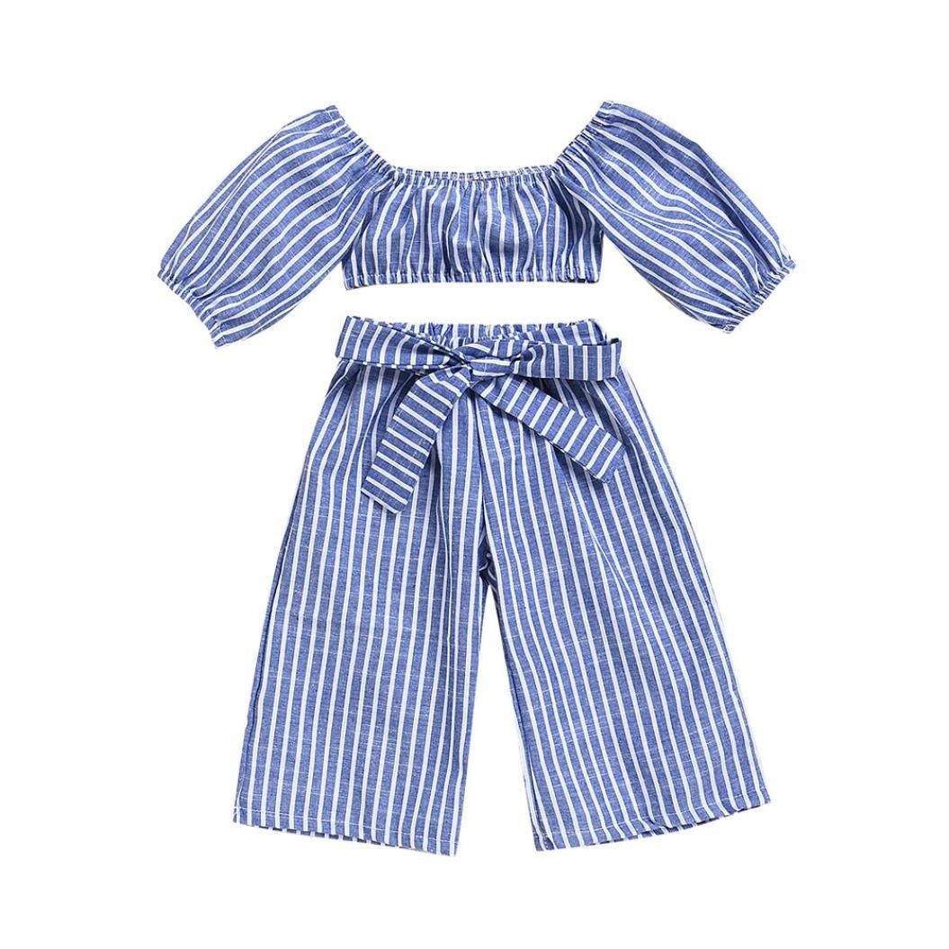 Fossen Verano 1-5 a/ños Ni/ñas Camiseta sin Tirantes a Rayas y Largo Pantalones Anchos de Rayas 2 Piezas//Conjunto Ropa