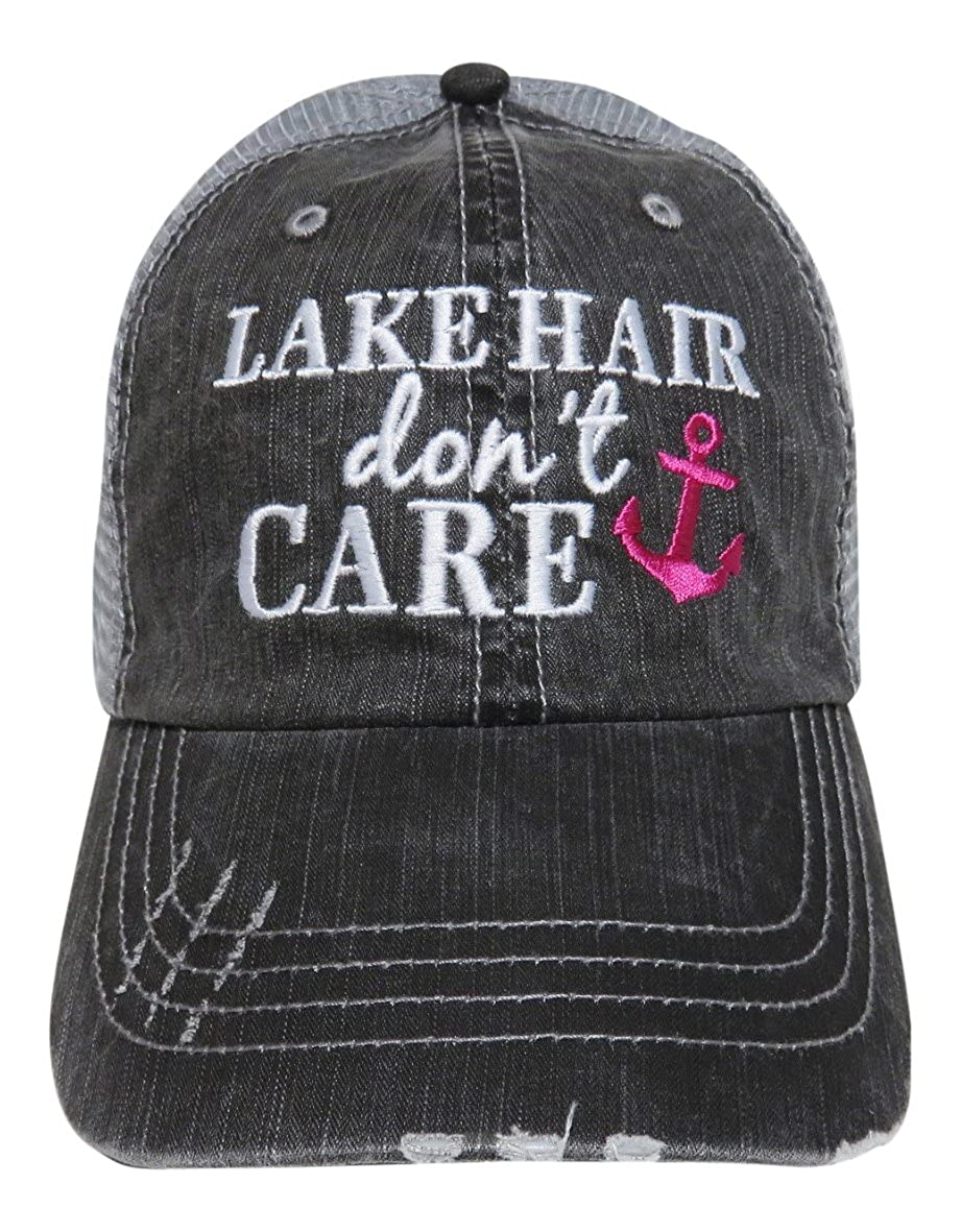 Embroidered Lake Hair Don't Care Washed Out Grey Trucker Cap